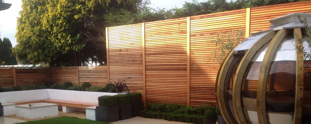 Cedar slatted screens in a contemporary garden